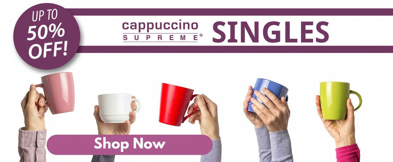 Up to 50% off all cappuccino mix single serve