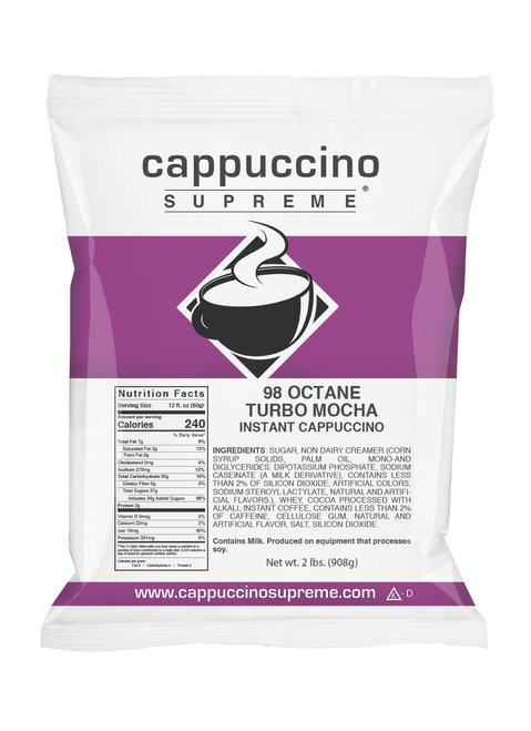 Rich and Creamy Turbo Mocha 98 Octane Cappuccino With added caffeine. Contains 3 Times the Caffeine Of A Regular Cappuccino. 2 lb. bag.