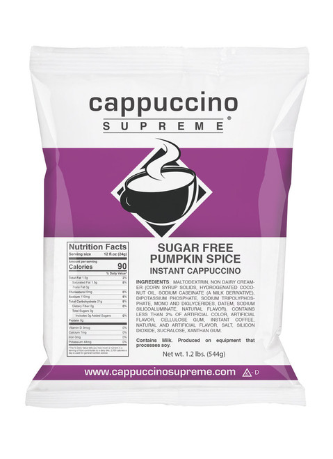 Sugar Free pumpkin spice Cappuccino Supreme 1.2 lb bag. Perfect for home use or dispensed from a cappuccino machine.