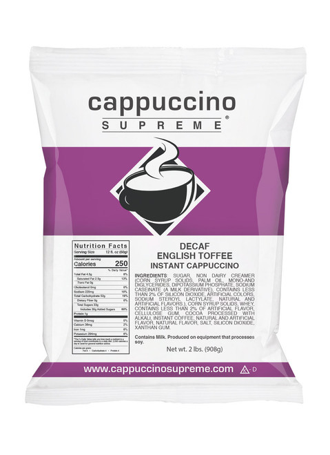 Decaf English Toffee Cappuccino Supreme 2 Lb. Bag. Perfect for home or commercial use.
