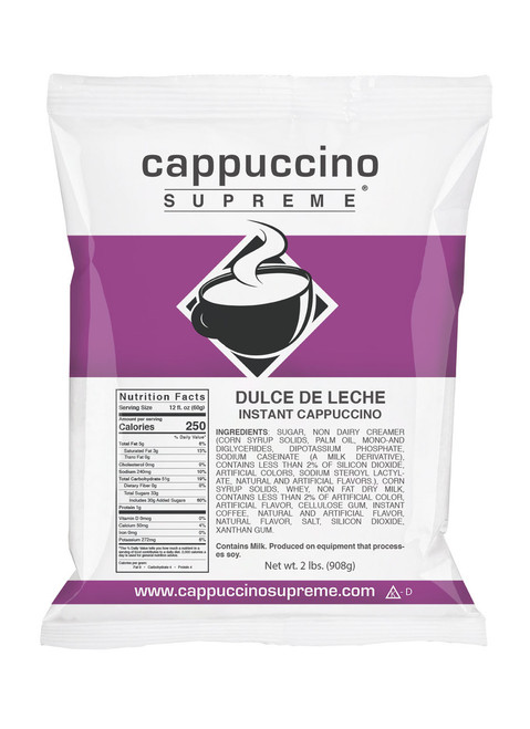 Dulce de Leche Cappuccino Supreme 2 lb. bag. Perfect for home or commercial use.