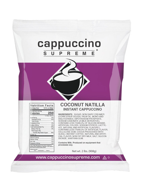 Coconut Natilla Cappuccino Supreme cappuccino mix 2 lb. bag Perfect for home or commercial use.