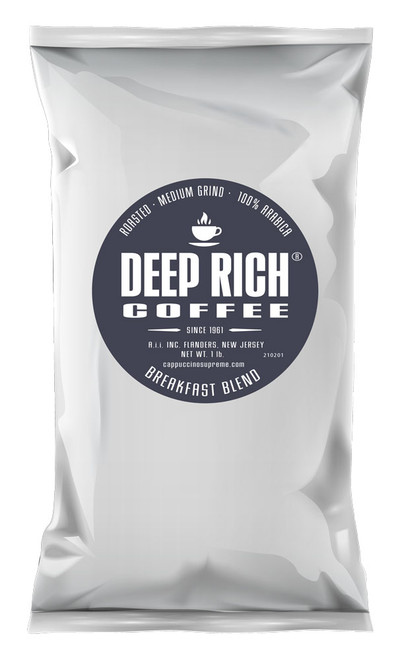 Deep Rich Breakfast Blend Roasted and Ground one Pound Bag.
