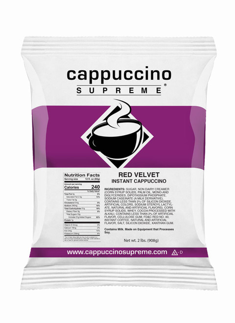 Red velvet cappuccino supreme instant cappuccino mix 2 lb bag