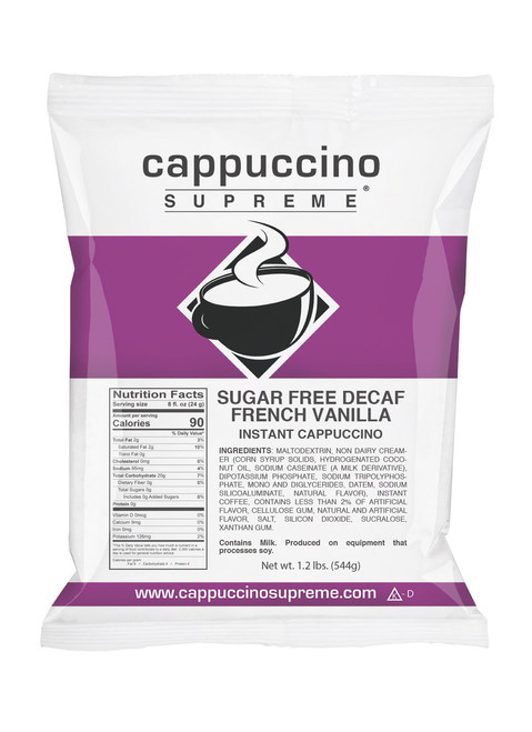 Sugar free Decaf French Vanilla Cappuccino Supreme 1.2 lb. bag. Perfect for home use or in commercial cappuccino dispensers.