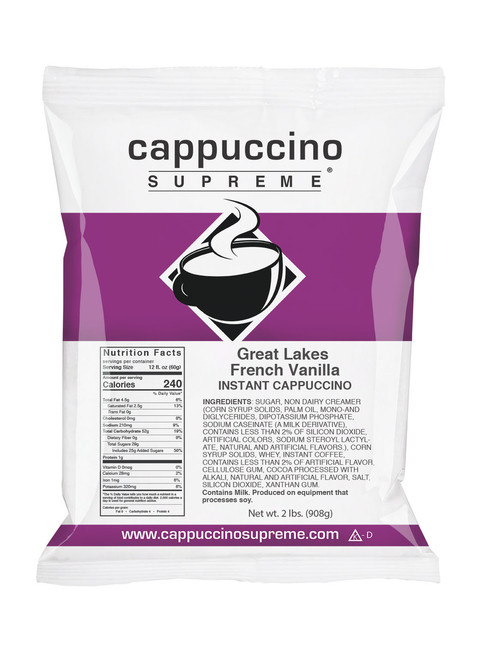Cappuccino Supreme Great Lakes Blend French Vanilla Cappuccino mIx 2 Lb. bags only $6.95. Perfect for home use or dispensed from a cappuccino machine.
