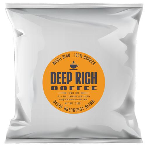 Deep Rich 100% Arabica Decaf Breakfast Blend Whole Bean 2 Lb Bag