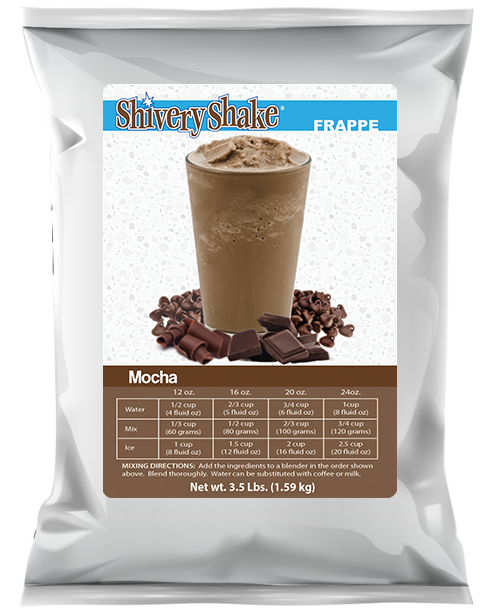 Delicious, refreshing Shivery Shake mocha frappe mix in a 3.5 lb. bag