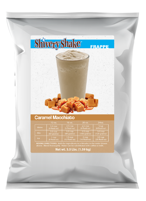 Shivery Shake caramel macchiato frappe mix 3.5 lb bag. Perfect for home or commercial blenders. Easily make your own gourmet frappe!