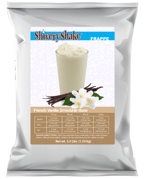 Shivery Shake French Vanilla Smoothie Base 3.5 Lb. Bag. Perfect for home or commercial blenders.