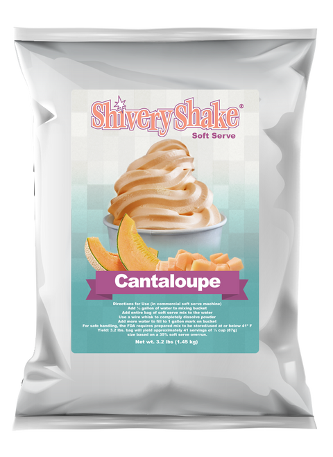 Shivery Shake Cantaloupe Soft Serve Mix 3.2 Lb. Bag. Perfect for use in commercial or home use soft serve machines.
