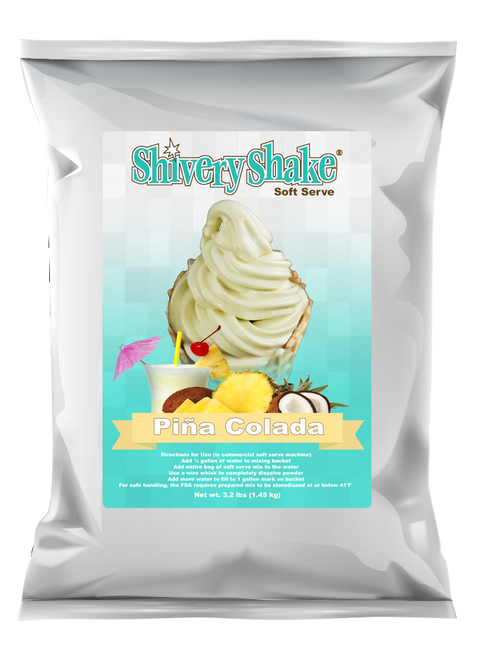 Shivery Shake Pina Colada soft serve mix 3.2 lb. bag. Perfect for home or commercial soft serve machines.