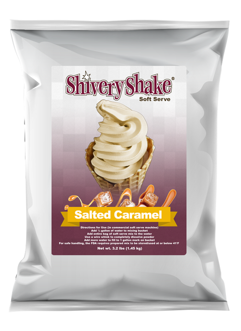 Shivery Shake salted caramel soft serve mix 3.2 lb. bag. Can be used in commercial and home use soft serve machines.