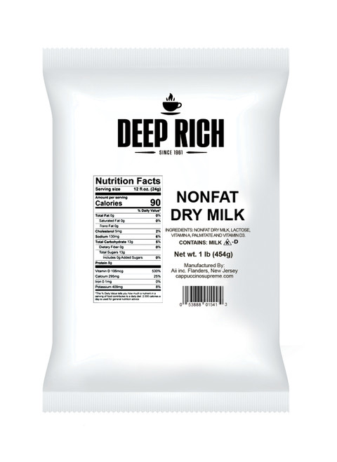 Deep Rich nonfat dry milk 1 lb. bag