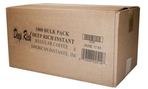 Deep Rich 1000 count bulk single serve regular coffee packets.