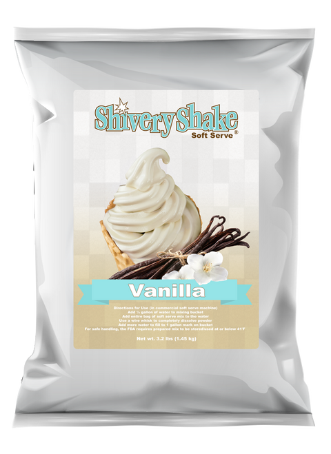 Shivery Shake Vanilla Soft Serve mix 3.2 Lb. bag.  For use in commercial and home use soft serve machines.