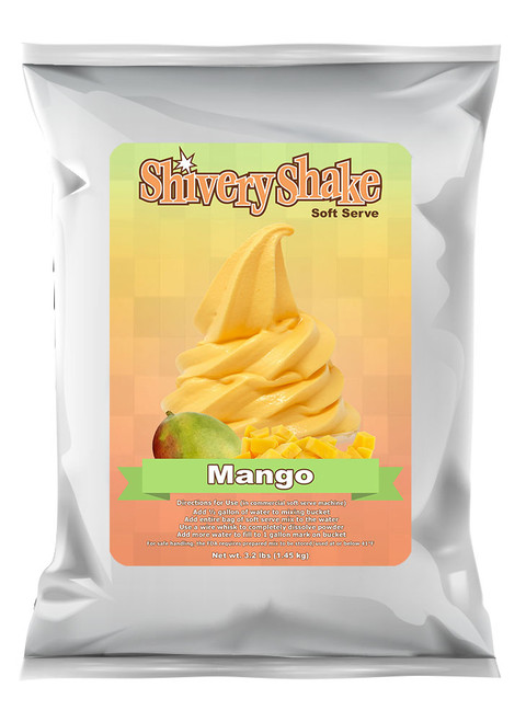 Shivery Shake Mango Soft Serve Mix 3.2 Lb Bag. For use in commercial and home use soft serve machines.