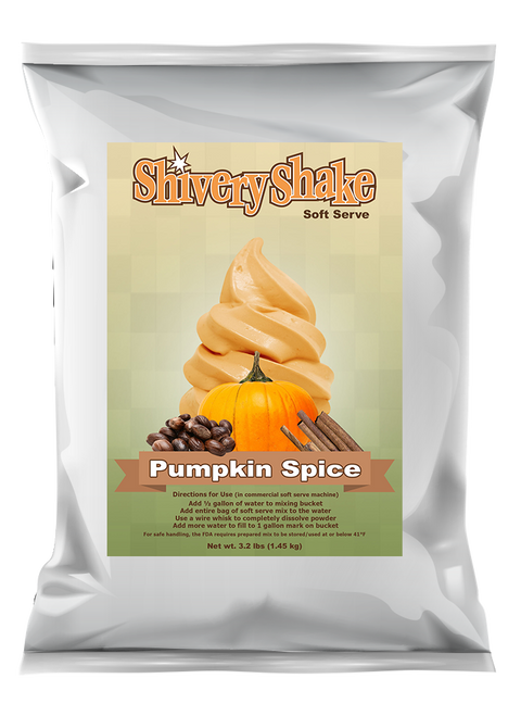 Shivery Shake Pumpkin Spice Soft Serve Mix 3.2 Lb Bag. For use in commercial and home use soft serve machines.