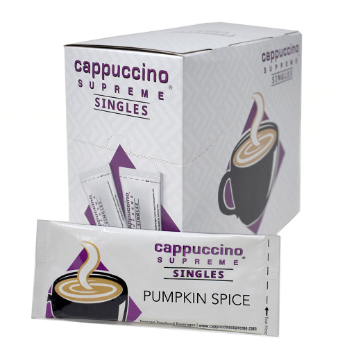 Cappuccino Supreme Pumpkin Spice Single Serve instant cappuccino mix 25 x 1 oz count box