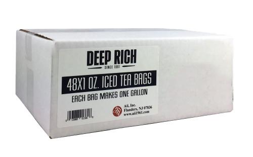 Deep Rich 48 x 1 oz iced tea bags. Each bag makes 1 gallon of tea.