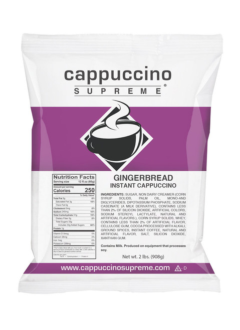 Gingerbread Cappuccino Mix. Cappuccino Supreme 2 Lb. Bag. Perfect for home or commercial use.