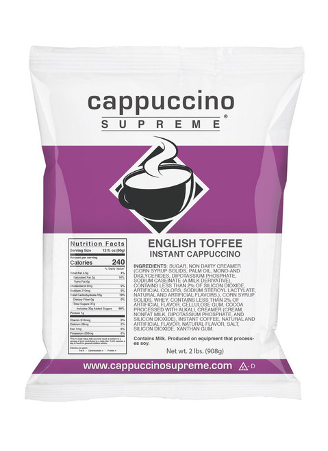 Delicious English Toffee Cappuccino Supreme 2 lb. bag. Perfect for home or business.