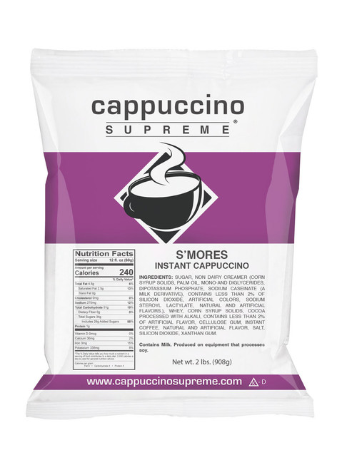 Rich and creamy Smores Cappuccino Supreme cappuccino mix 2 lb. bag