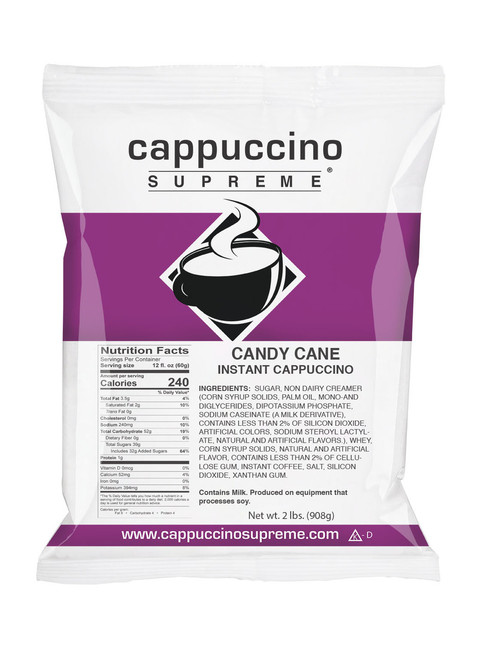 Cappuccino Supreme Candy Cane cappuccino mix 2 lb. bag. Perfect for home or commercial use.