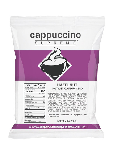 Hazelnut Cappuccino Supreme 2 Lb bag of cappuccino mix perfect for home or business. Can be made in your kitchen with hot milk or water or dispensed from cappuccino machines.