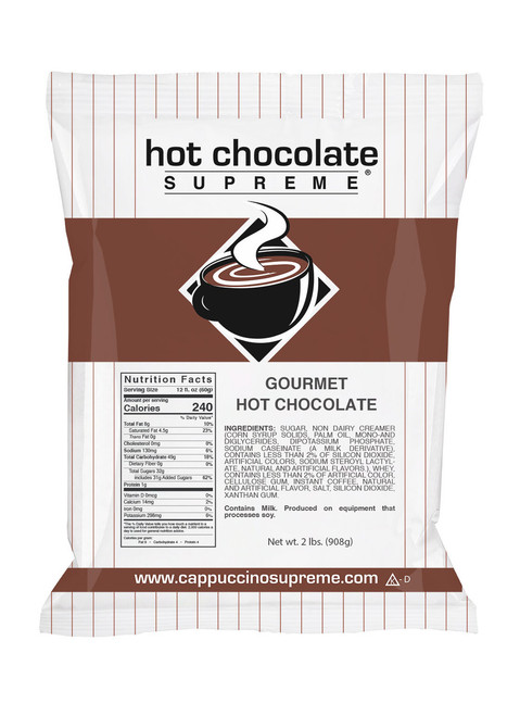 Hot Chocolate Supreme Gourmet Hot Chocolate Mix 2 lb bag. Perfect for home use or commercial cappuccino and hot chocolate machines.