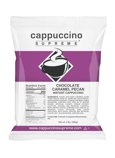 2 lb. bag of chocolate caramel pecan instant cappuccino mix from Cappuccino Supreme
