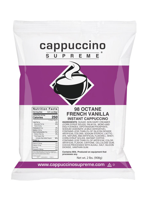 98 Octane French Vanilla Cappuccino Mix with 3 times the caffeine of a regular cappuccino. 2 Lb. bag. Perfect for home use or in a commercial cappuccino dispenser.