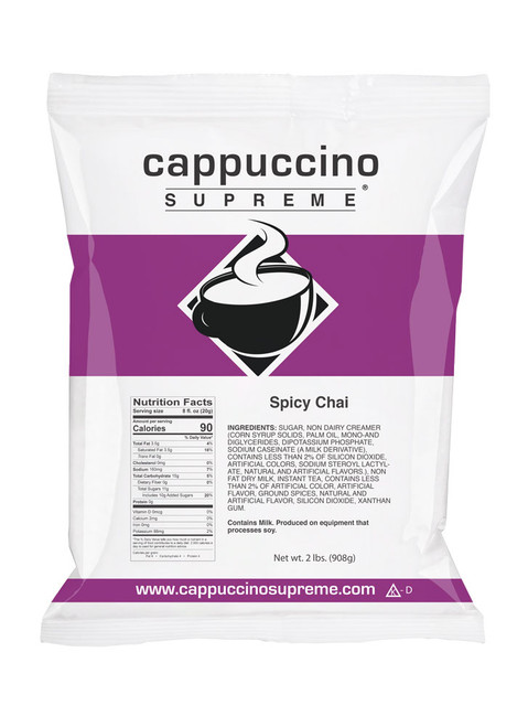 Cappuccino Supreme Instant Spicy Chai Mix 2 lb Bag. Perfect for home use or in a commercial cappuccino dispenser.