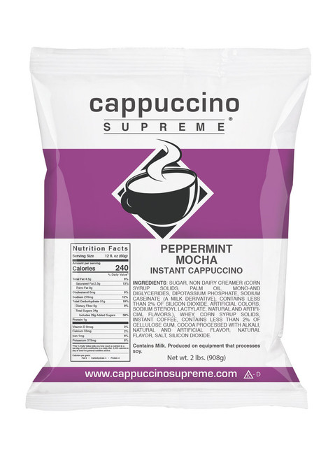 Peppermint mocha Cappuccino Supreme 2 lb. bag. Perfect for home use or commercial cappuccino dispensing.