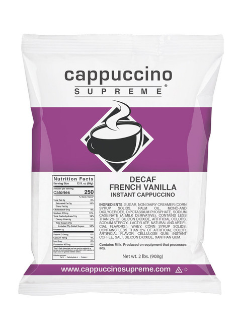 decaf French Vanilla Cappuccino Supreme 2 lb bag. Perfect for home use or commercial dispensing.