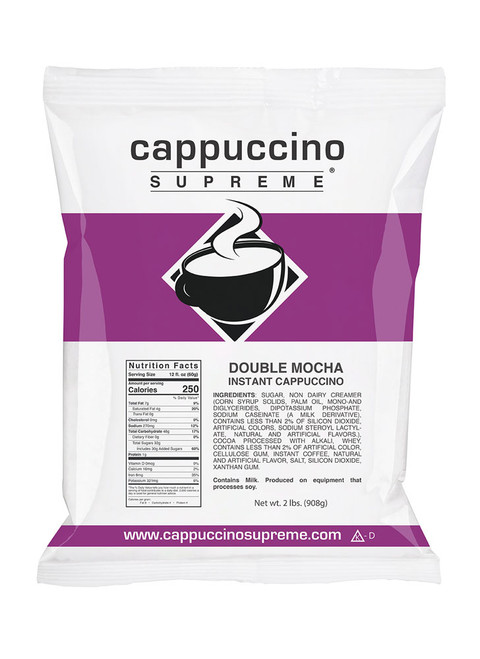 Double Mocha Cappuccino Supreme 2 Lb. Can be mixed in your kitchen using hot water or milk or dispensed from a commercial cappuccino machine.