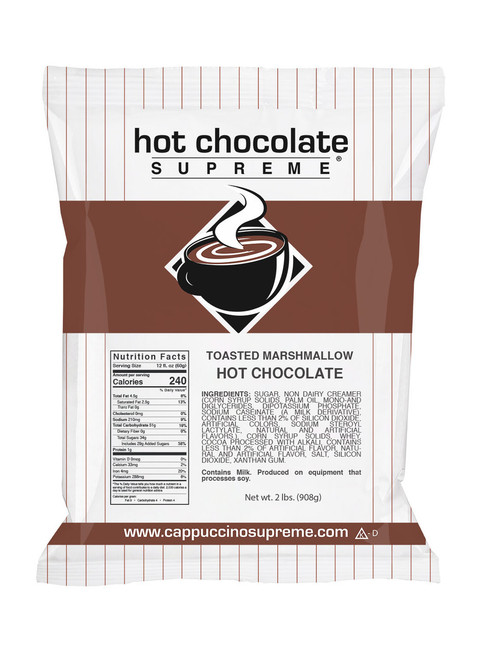 Toasted marshmallow flavored instant hot chocolate mix 2 lb bag. Perfect for home use or in a commercial cappuccino or hot chocolate dispenser.