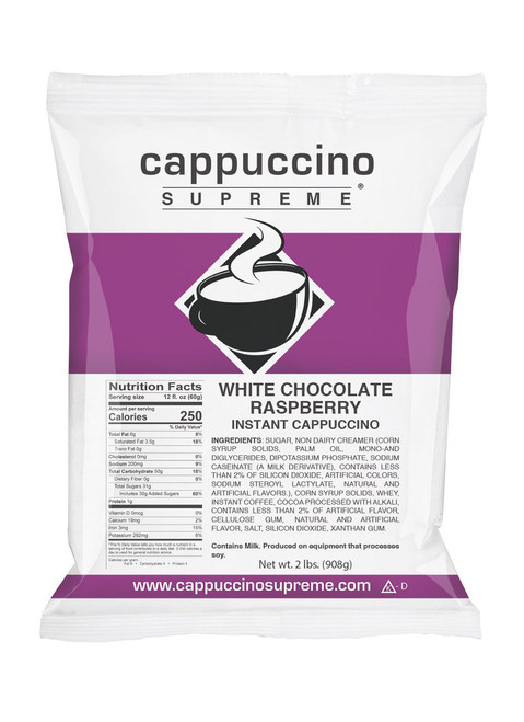 White chocolate raspberry Cappuccino Supreme 2 lb. bag Instant Cappuccino Mix