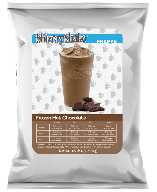 Shivery Shake Frozen Hot Chocolate Mix 3.5 lb bag. Perfect for home use or commercial blender.