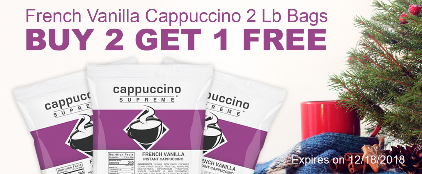 French Vanilla Cappuccino 2 Lb Bags Buy 2 Get 1 Free! Expires on 12/18/2018