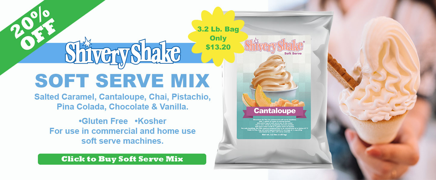 Shivery Shake Soft Serve Mix on sale now 20% off salted caramel, cantaloupe, chai, pistachio, pina colada and vanilla soft serve mixes for commercial and home use soft serve machines.