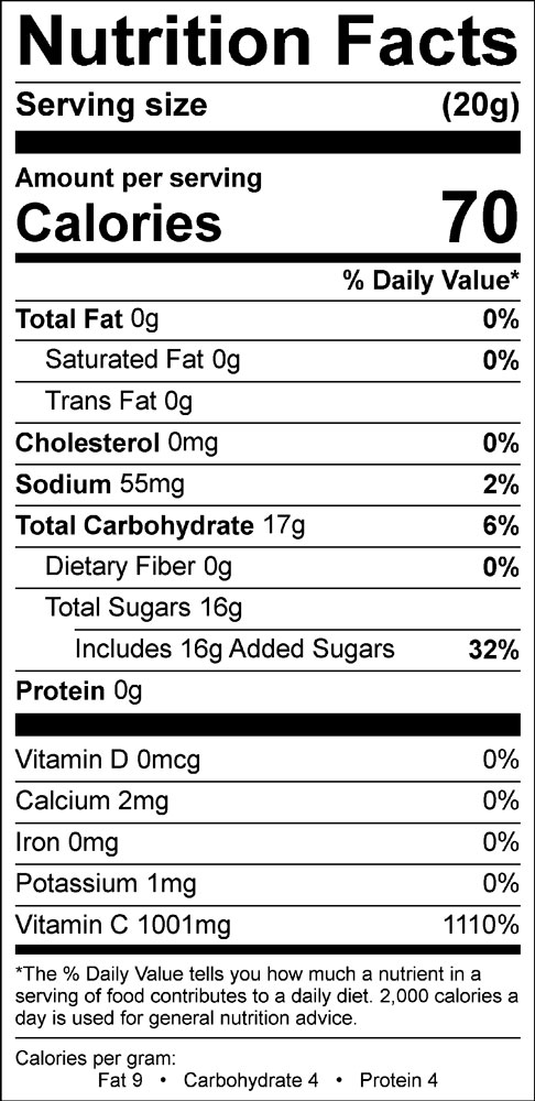 nutritional information for lemonade drink mix with Vitamin C