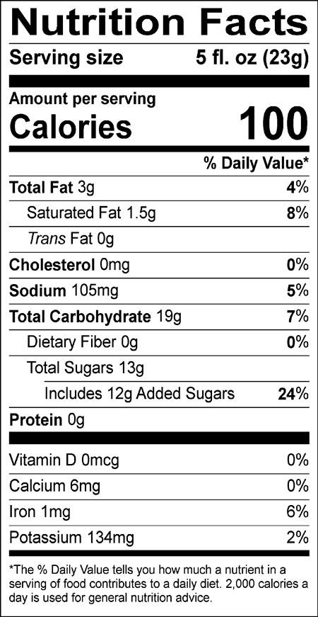 Nutritional information for Cappuccino Supreme single serve mocha cappuccino mix