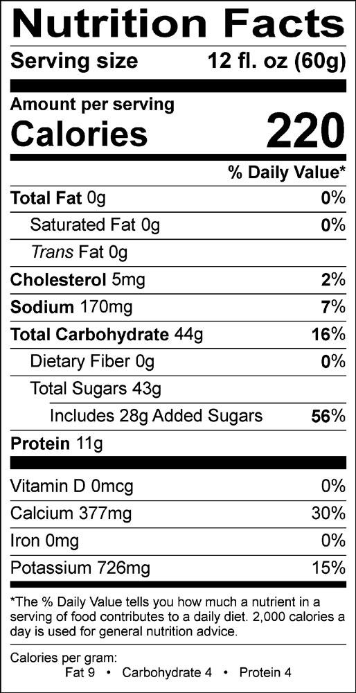 Natural vanilla chai nutrition info