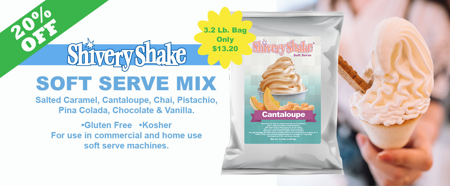 shivery shake soft serve mix on sale now. For use in commercial or home soft serve machines.