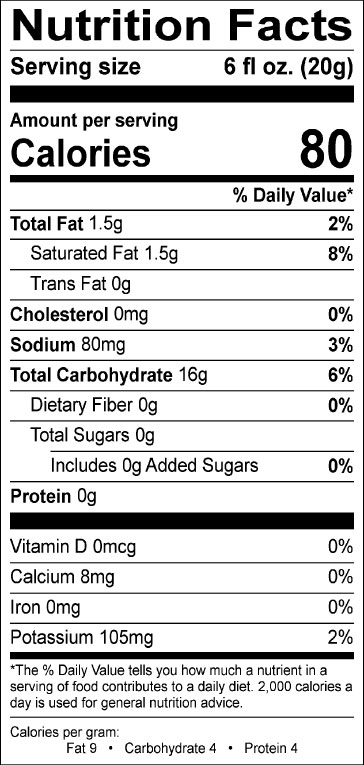 Nutrition information for Cappuccino Supreme single serve sugar free decaf cappuccino mix