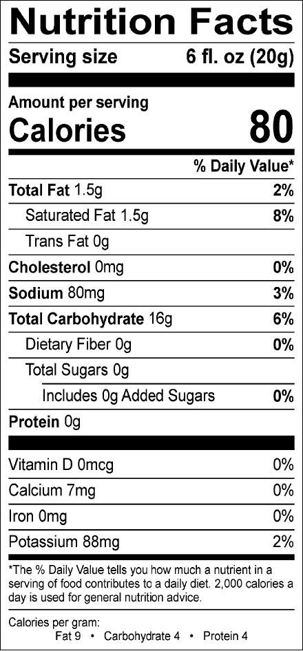 Sugar Free French Vanilla Single Serve Nutrition