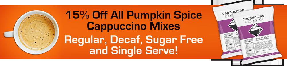 Cappuccino Supreme pumpkin spice cappuccino mix on sale now