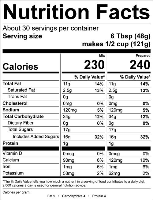 Nutrition info for Shivery Shake Vegan Chocolate Soft Serve Mix