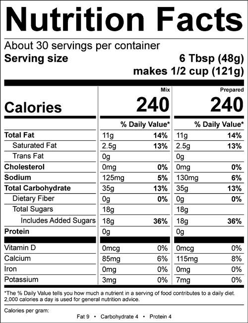 nutrition info for shivery shake vegan soft serve mix